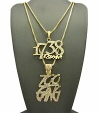 "Hip Hop FETTY WAP Gold PT 1738 ZOO GANG Pendant 24"",30"" Box Chain 2 Necklace Set"