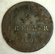 1809 German States HESSE-DARMSTADT 1/2 Kreuzer KM#274 YG Copper World Coin #P