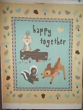 "Bambi Thumper Flower Disney Quilt Panel Happy Together Cream 36"" x 44"""