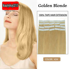 PU Skin Weft Tape In Real Human Hair Extensions Golden Blonde 16inch 20Pcs/Set
