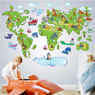 Colour World Map Wall Stickers Removable Kids Nursery Baby Room Decor Art Mural
