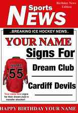 A5 Personalised Cardiff Devils  Greeting Birthday Card Ice Hockey PID555