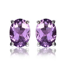 1.4ct Natural Amethyst Earrings Stud Solid 925 Sterling Silver Oval For Ladies