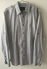 NWT Mens DKNY Jeans Slim Fit Button Up Shirt Gray Striped  100% Cotton M