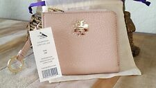 TORY BURCH MERCER HALF ZIP CARD CASE WALLET KEY RING  LIGHT OAK + POUCH