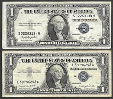 U.S. Silver Certificates - Two $1.00 Notes - 1935 & 1957 - FIne to VF Condition