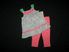 "NEW ""CORAL ZEBRA"" Capri Pants Girls Clothes 12m Spring Summer Boutique Baby"