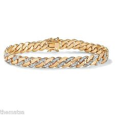 "MENS DIAMOND ACCENT 18K GOLD GP 8.5"" CURB LINK  BRACELET"