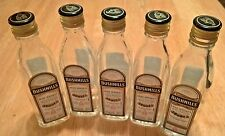 5 EMPTY Mini Bushmills Irish Whisky Glass 50 ml Liquor Bottles