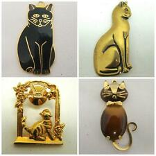 OBCO SIGNED 4 LOT GOLDTONE CAT PINS BROOCHES PENDANT TIGERS EYE BLACK ENAMEL