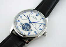 43mm Parnis Automatic Power Reserve White Dial Genuine Leather Strap Watch