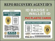 Repo Recovery Agent ID'S (Badge + Wallet Card) CUSTOMIZE W/ Your Own Info - PVC