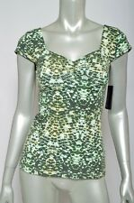 NEW NWT Guess Los Angeles Olive Green Creme Peasant Shoulder Knit Top Sz M