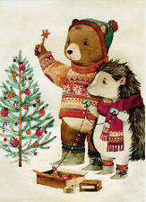 GUINEA PIG AND HEDGEHOG INSTALL LIGHTS ON XMAS TREE Modern Russian card