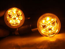 Chrome Skull Skeleton LED Turn Signal Indicator Light For Harley Custom Parts