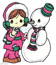 """3.5"""" PRECIOUS MOMENTS CHRISTMAS SNOWMAN GIRL CHARACTER FABRIC APPLIQUE IRON ON"""