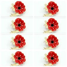 X5 LARGE RED DIAMANTE POPPY FLOWER BROOCH CRYSTAL GOLD REMEMBRANCE PIN GIFT