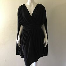 Monif C Shirred Draped Evening Cocktail Party Dress Plus Sz 1X Black