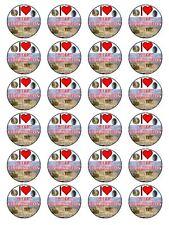 """Me encanta la civilización griega Cupcake Topper En Papel De Arroz Comestible 1.5"""" 24 por juego"""