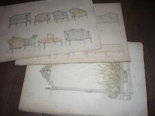 19 GRANDS DESSINS D'ARCHITECTURE INTERIEURE MEUBLES AQUARELLES 1900