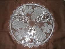 Vintage Fruit Plate Clear Etched Glass with Fruit and Flower Design