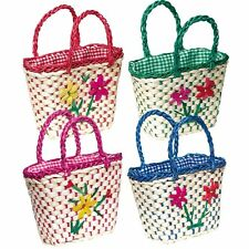 Toy Kids Girl  Medium Shopping Basket Colorful Flowers Woven Basket For Bike