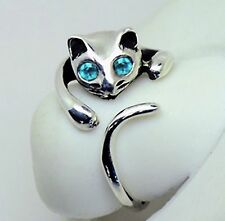 """ORIGINAL"" Adorable Cat Ring - BLUE Crystal Eyes – Adjustable - FREE Gift Box"