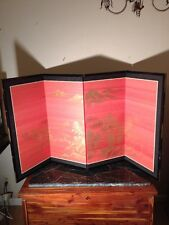 "Vintage Japanese 4 Panel Byobu Hand Painted Gold Gilt Folding Screen 66"" Mount"