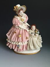 Vintage Dresden Lace Figurine Woman with Girl Holding Flowers