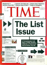 2008 Time Magazine: The List Issue/Top 10/Blagojevich/Kashmir India & Pakistan