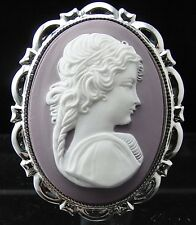 Silver Plated Ancient Rome Lady Cameo Brooch Pin