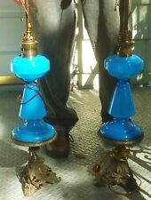 Antique French Blue Opaline Glass Lamps Burner Marked Non Plus Ultra Brenner HS