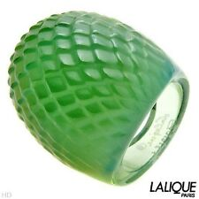 NIB LALIQUE SNAKE SERPENT OPALESCENT ANTINEA GREEN CRYSTAL RING Sz US-6.5/T53