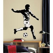 New Giant Black & White SOCCER PLAYER WALL DECAL Sports Stickers Boys Room Mural