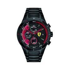 New Men's Scuderia Ferrari 830264 Chronograph RedRev Evo Race Fan Black  Watch