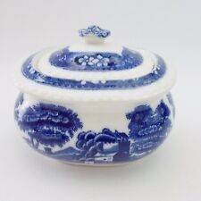 SPODE BLUE TOWER SUGAR DISH WITH LID BLUE AND WHITE CHINA VINTAGE SPODE SUGAR
