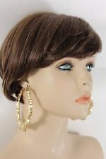 New Women Gold Earrings Set Hoop Thick Bamboo Fashion Hip Hop Metal Hook Dangle