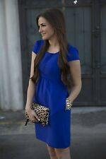 £128 ANTHROPOLOGIE HD IN PARIS SAPPHIRE BLUE EMPIRE JACQUARD DRESS 4 6 0 2 32 34