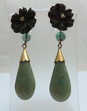 Antique Diamond & Emerald Green Jade 18ct Gold French Drop Earrings