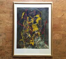 Abstract Expressionist Painting in Manner of Jackson Pollock, 1969 Artist Signed