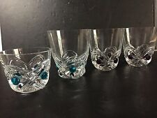 LALIQUE Crystal SET OF 4 FLORIDE WHISKEY GLASSES TUMBLERS