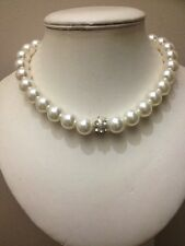 ��Wedding Party Prom White Pearl Beaded Choker Necklace With Diamanté Feature