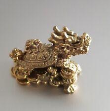 1 Pcs Feng Shui Brass Dragon Turtle Handcraft Longevity Lucky Prosperity