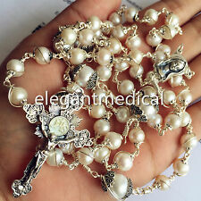 Bali 925 Sterling Silver & 3A White Pearl Beads Catholic Rosary NECKLACE Cross