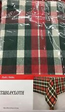 Primitive Country Red Green Plaid Table Cloth  60x84 Christmas Holiday Home Deco