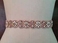"Wedding Belt, Bridal Sash Belt - ROSE GOLD Crystal Sash Belt = 19"" long"