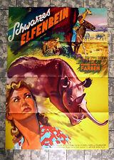 SCHWARZES ELFENBEIN / Where No Vultures fly * A1-FILMPOSTER ´52 TIERE AFRIKA RAR