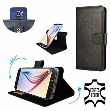 Genuine Leather Phone Wallet Case For Panasonic Eluga Mark 2 - 360 Black L