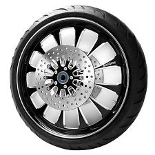 "Black 23"" Front Harley Wheel Package w/ Rotors & Tire for 14-17 Touring w/ABS"