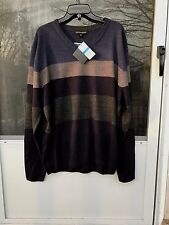Tricots St Raphael Striped V-Neck MIDNIGHT HTHR pullovers Sweater SZ XL $65.00